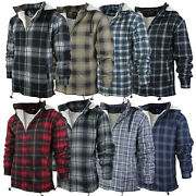 Menand039s Heavy Fleece Lined Sherpa Hoodie Plaid Flannel Jacket With Hood