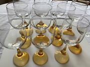 Set Of 11 Signed Rosenthal Crystal 900 Clairon 7andrdquo Wine Glasses Amber Stems