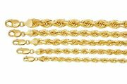 10k Yellow Gold 6mm-10mm Diamond Cut Solid Rope Chain Pendant Necklace 18-30