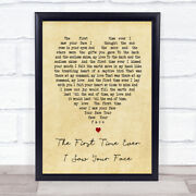 The First Time Ever I Saw Your Face Vintage Heart Song Lyric Print