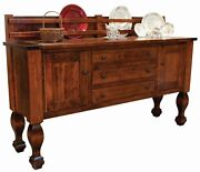 Amish Solid Wood Buffet Farmhouse Country Sideboard Marriott Plate Rack 78