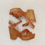 Coach Tan Leather Nikkie Wedges, Size 6, Nwot
