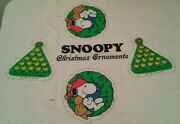 Vintage Peanuts Christmas Ornament Craft Fabric Pattern Snoopy And03958 Woodstock And03965