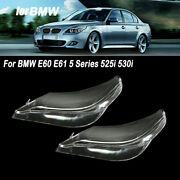 For Bmw E60 E61 5 Series 525i 530i Pair Right And Left Headlight Clear Lens Cover