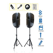 2x 12 Inch 2-way 2000w Powered Pa Active Speakers Dj Stands Microphone Staraudio