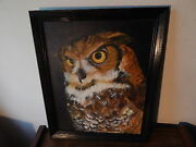 Signed Lucia 1980 Wood Framed Owl Painting On Canvas Nice International Sale