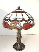 Lamp Lampshade Glass Red With Inserts And Base Liberty Brass Ivy