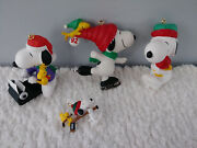 Hallmark Snoopy Collector Christmas Ornaments 1990and039s 2000 2002 Resin Peanuts