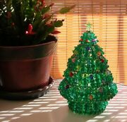 Noandeumll Tree - Colorful Handcrafted Beaded Christmas Tree With Star Topper And Lights