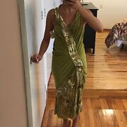 John Galliano Green Dress With Sequins Size 8 New With Tag 2945