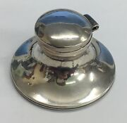Antique Solid Silver Weighted Capstan Inkwell 1912 Damaged Inside