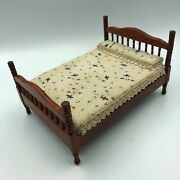 Vintage Mini Doll House Miniature Bed Wood Wooden Furniture Cherry Brown Bedding