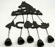 Cast Iron Country Horse Cowboy Horseshoe Charms Hanging Bells Wind Chime 18-3/4
