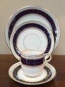 19th Century English Cobalt Blue And Gold 4 Pc Place Setting Coffee And Saucer A
