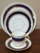 19th Century English Cobalt Blue And Gold 4 Pc Place Setting Coffee And Saucer B