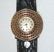 Vintage 14k Y Gold Lucien Piccard Beaded Women Dress Wrist Watch Leather Band