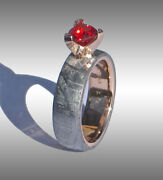 Custom Made Gibeon Meteorite And Ruby Engagement Ring Jewelry 077 In 14k Gold