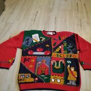Signatures Northern Isles Hand Knit Ugly Large L Women Sweater School Bus Apples