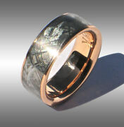 Custom Made Gibeon Meteorite Ring Wedding Band Jewelry 041 In 18k Rose Gold