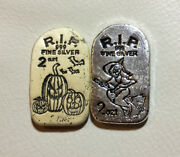 Monarch Rip Tombstone 2 Oz Silver Bars 1 Witch And 1 Jack-o-lantern Matching S