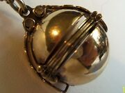 Signed Sterling Silver 925 Vermeil Mexico Antique 6 Photo Ball Locket Beautiful