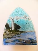 Pointe Aux Barques Mi Great Lakes Lighthouse Fused Art Glass Night Light Ecuador