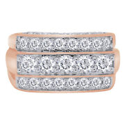 Valentines Day Mens 14k Rose Gold Multi Row Diamond Ring Band 3.00ct