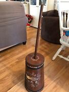 Antique Painted Wooden Butter Churn With Metal Band's Lid And Masher
