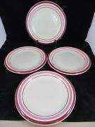 Newcor Stoneware Regency Set Of 4 Dinner Plates 9 1/2 Red/pink Hard To Find