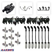 8 D513a Coils + 4303 Spark Plugs + Wires W/heat Shields + 2 Brackets And Harnesses