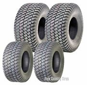 Set Of 4 New Lawn Mower Turf Tires 15x6-6 Front And 18x9.5-8 Rear /4pr