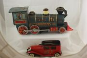 Tin Toys- Western Steam Engine And Red Cragstan Touring Limo N-1929