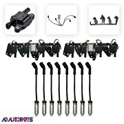 8 Adp D513a Coils + 8 Herlux Wires W/heat Shields + 2 Brackets + 2 Harnesses