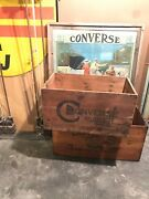 Antique Vintage Old Converse Basketball Shoe Wooden Crate Sneakers Wood Box