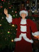 Animated Life Size 5 Foot Mrs Santa Claus In Red Velvet Sings And Dances Christmas