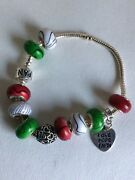 Sterling Silver Pandora Charms Bracelet With 9x925 Beads And 2 Charms