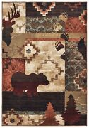 Woodlands By Oriental Weavers. Casual Southwest Lodge Area Rug. Black/rust 9649a