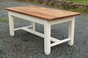 Hand Made Farm House Kitchen Table Painted In Farrow And Ball New White