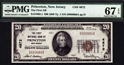 20 1929 T1 First National Bank Of Princeton, New Jersey Ch 4872 Pmg 67 Epq
