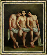 Hand Painted Original Oil Painting Art Gay Three Male Nude On Canvas 30x40