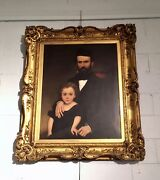 Portrait By Nataniel Hughes 19th Century Father And Child