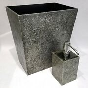 Dransfield And Ross Coin Platinum Wastebasket And Soap Dispenser 2pc Bath Set