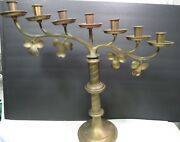 Victorian L And R Lamb Ny Brass Candelabra 1918 Branches Leaves 7 Light Twist