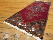 Genuine Antique 1940-1950and039s Wool Pile 1and0394and039and039 X 3and0396and039and039 Natural Dye Tribal Rug