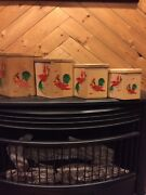 Vintage Wood Nesting Canisters Rooster Japan Set Octagon Patent Pending