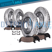 2007-10 Ford Edge Mkx Awd 320mm Front 302mm Rear Drilled Rotor Ceramic Brake Pad