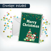 Merry Christmas Greeting Cards Xmas Holiday Gift Postcards With Envelope
