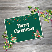 Greeting Cards Merry Christmas Holiday Gift Horizontal Postcards With Envelope