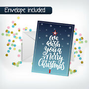 Wish You Merry Christmas Greeting Cards+envelope, Holiday Blessing Gift Postcard