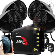 1000w Bluetooth Motorcycle Stereo 4 Speakers Audio Mp3 System Aux Usb Fm Radio